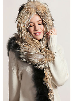 Women's Fox Fur Scarf and Hood with Coyote Fur Trim
