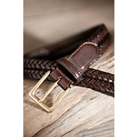 Milan Woven Leather Belt, Brown, Size 42 Western & Country
