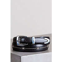 Denver Diamond Leather Belt, Black, Size 34 Western & Country