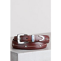 Denver Diamond Leather Belt, BROWN, Size 44