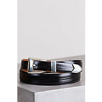 Avalon Basketweave Taper Leather Belt, BLACK, Size 42