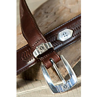 Cape Verde Ornament Leather Belt, Brown, Size 38 Western & Country
