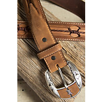 Fenced In Leather Belt, Aged Bark, Size 44 Western & Country