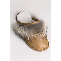 Women's Camilla Shearling-Lined Brazilian Leather Scuff Slippers with Coyote Fur Trim