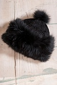 Women's Chenille Hat with Fox Fur Trim