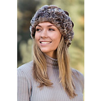 """Women's 2-In-1 Chenille Hat And Collar With Rabbit Fur Trim, Brown (24"""" Circumference) Western & Country"""
