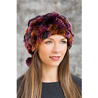 2 in 1 Chenille Hat and Collar with Rabbit Fur Trim MERLOT Size 1 Size 24andquot circumference