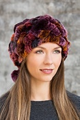 Women's 2-in-1 Chenille Hat and Collar with Rabbit Fur Trim
