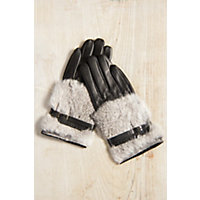 Women's Lambskin Leather Gloves With Rabbit Fur Trim, Black / Grey, Size Medium (7) Western & Country