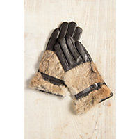 Women's Lambskin Leather Gloves With Rabbit Fur Trim, Brown / Natural, Size Small (6 1 / 2) Western & Country