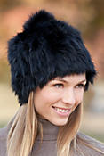 Women's Knitted Rabbit Fur Stretch Hat with Fox Fur Pom