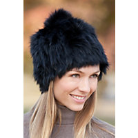 Women's Knitted Rabbit Fur Stretch Hat With Fox Fur Pom Western & Country