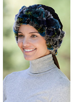 Women's 2-in-1 Chenille and Rex Rabbit Fur Hat or Collar