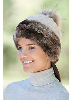 Women's 2-Tone Stretch Rex Rabbit Fur Hat with Raccoon Fur Pom