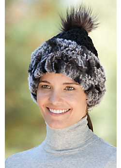 Women's Cashmere Hat with Chiffon Rex Rabbit Fur and Fox Fur Pom