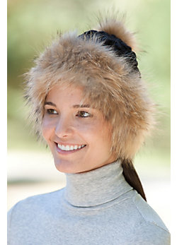 Women's Wool Chenille Hat with Raccoon Fur Trim