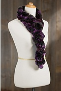 Women's Rex Rabbit Fur Ruffle Scarf with Rosette II