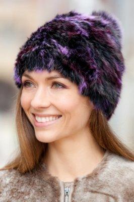 Women's Rabbit Fur Hat with Detachable Fox Fur Pom