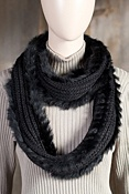 Women's Wool Infinity Scarf with Rabbit Fur Trim