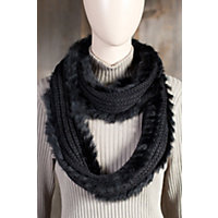 Women's Wool Infinity Scarf With Rabbit Fur Trim Western & Country