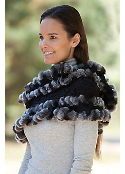 Women's Textured Cashmere Ruffles and Rex Rabbit Fur Trim Eternity Scarf