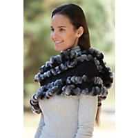 Women's Textured Cashmere Ruffles And Rex Rabbit Fur Trim Eternity Scarf Western & Country