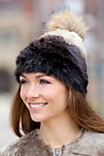 Women's Knitted Rabbit Fur Hat with Raccoon Fur Pom