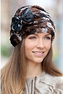 Women's Knitted Rex Rabbit Fur Hat with Lambskin Leather Bow