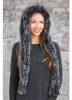 Women's Knitted Fox Fur Hooded Scarf