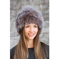 Knitted Fox Fur Hat DENIM MIX Size 1 Size 20quot circumference $295.00 AT vintagedancer.com