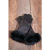 Women's Napoli Leather Gloves with Rabbit Fur Trim, BLACK/BLACK, Size 8