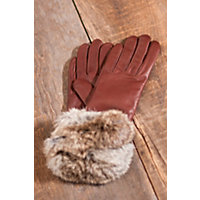 Women's Napoli Leather Gloves with Rabbit Fur Trim, COPPER/NATURAL, Size 7.5