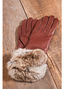 Women's Napoli Leather Gloves with Rabbit Fur Trim