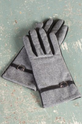Women's Solitaire Sensor Touch Lambskin Leather and Wool Gloves