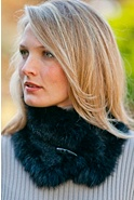 Women's Chenille Scarf with Rabbit Fur Trim