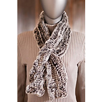 Women's Knitted Rex Rabbit Fur Scarf, Brown Snow Western & Country