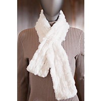 Women's Knitted Rex Rabbit Fur Scarf, White Western & Country