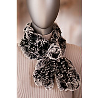 Women's Knitted Rabbit Fur Scarf with Rosette, BLACK/CHINCHILLA, Size 1 Size