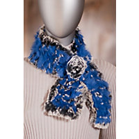 Women's Knitted Rabbit Fur Scarf with Rosette, BLUE/CHINCHILLA, Size 1 Size