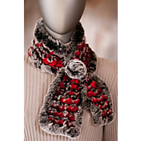 Women's Knitted Rabbit Fur Scarf with Rosette, RED/CHINCHILLA, Size 1 Size