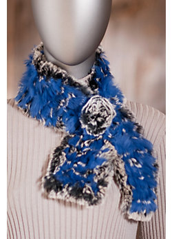 Women's Knitted Rabbit Fur Scarf with Rosette