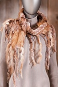 Women's Fringed Rabbit Fur and Fox Fur Scarf
