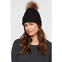Cashmere Beanie Hat with Detachable Fox and Raccoon Fur Poms