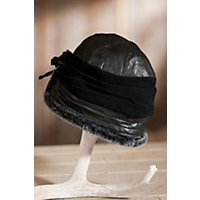 "Women's Sheepskin Cloche Hat With Suede Rosettes, Black Briesa, Size Large (23-23 ½"") Western & Country"