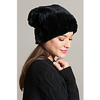 Overland Knitted Rex Rabbit Fur Stretch Beanie Hat