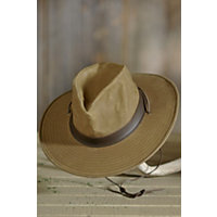"Weekend Walker Waxed Canvas And Leather Hat, Khaki, Size Medium (22.25"") Western & Country"