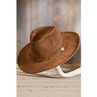 "Crushable Weekend Walker Suede Hat, Brown, Size Medium (22.25"") Western & Country"