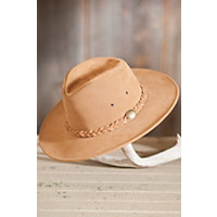 "Crushable Weekend Walker Suede Hat, Tan, Size Medium (22.25"") Western & Country"