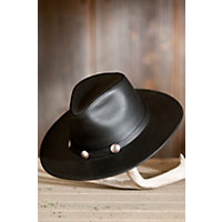 "Dude Leather Buffalo Hat, Black, Size Xlarge (23.75"") Western & Country"