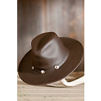 "Dude Leather Buffalo Hat, Brown, Size Medium (22.25"") Western & Country"